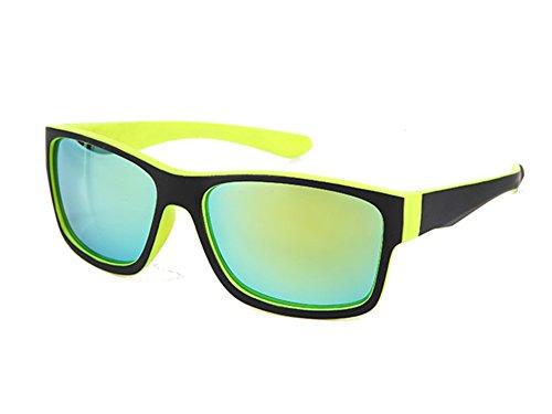 lunettes couleur noir uV pour soleil verres 400 de déchiquetés grand Jaune modèle Jaune net Chic homme FzRqWBpWx
