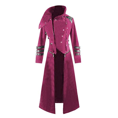 Mens Gothic Tailcoat Party Cosplay Performance Costume Medieval Retro Punk Long Hoodie Jacket Outwear Red