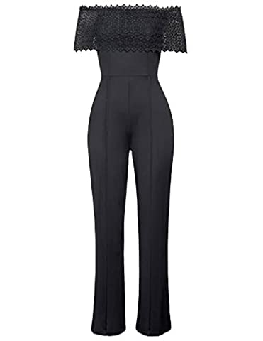Women's Strapless High Waist Wide Leg Long Pants Jumpsuits Size L Black