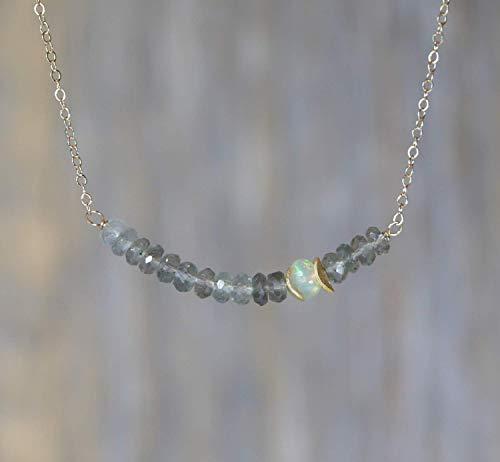 Genuine Moss Aquamarine Gemstone Bar Necklace Opal -March Birthstone-17