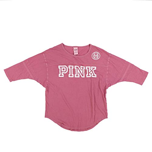 (Victoria's Secret Pink 3/4 Sleeve Slub Top T-Shirt (XS, Soft Begonia))