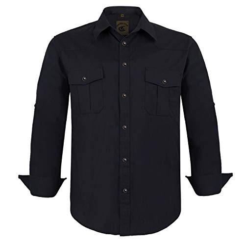 Coevals Club Men's Snap Button Down Solid Long Sleeve Work Casual Shirt (Black, S)