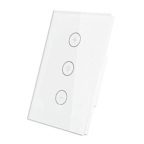 - Smart WiFi Dimmer Light Switch, Glass Touch Panel Wireless Remote Control Anywhere Compatible with Alexa and Google Assistant Timing Function No Hub Required, work with Smart Life app