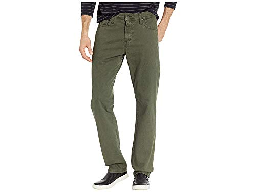 AG Adriano Goldschmied Men's Everett Slim Straight SUD Sueded Stretch Sateen in Sulfur Ash Green Sulfur Ash Green 30 32