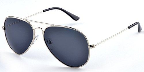 Aoron Unisex Classic Polarized Aviator Sunglasses with Black Lens Silver Metal - Aoron Sunglasses