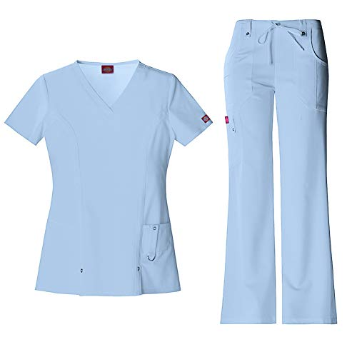 - Dickies Xtreme Stretch Women's V-Neck Scrub Top 82851 & The Extreme Stretch Drawstring Scrub Pants 82011 Medical Scrub Set (Sky - X-Large/XXL Petite)