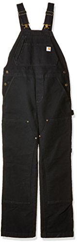 - Carhartt Women's Petite Weathered Duck Unlined Wildwood Bib Overalls, Black-1, XL