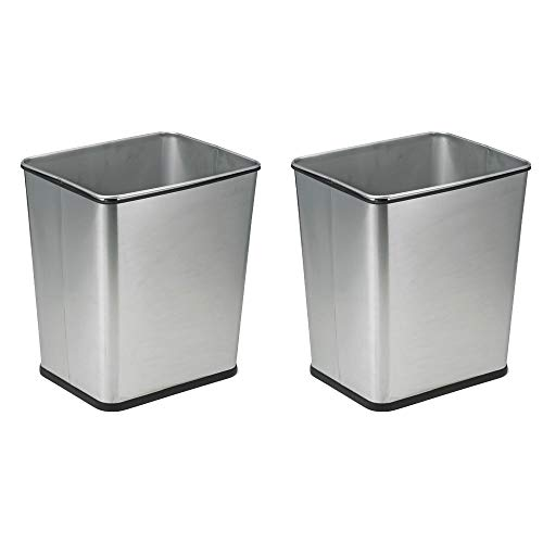(Polder 7 Gallon Under Counter Trash Waste Can Recycle Bin, Stainless Steel (2 Pack))