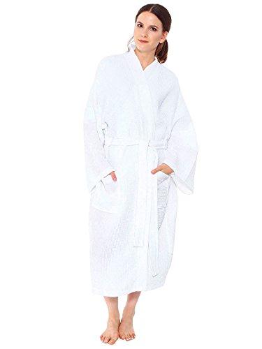 Kimono Robe Unisex 100% Cotton Waffle Spa Bathrobe, White