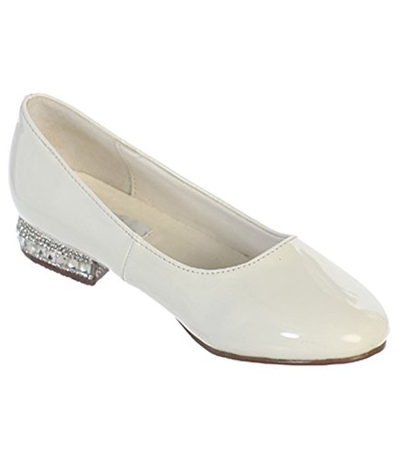 iGirlDress Rhinestone Ornamented Heel Flats Flower Girls Shoes Ivory 10