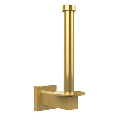 - Allied Brass MT-24U-PB Montero Collection Upright Toilet Tissue Reserve Roll Holder, Polished Brass