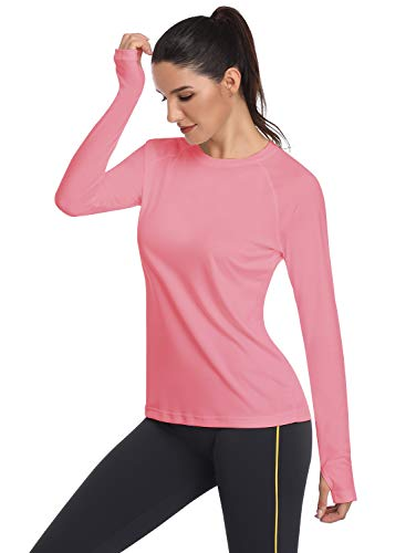 HISKYWIN Women's UPF 50+ Sun Protection Long Sleeve Outdoor T-Shirt Athletic Top Rashguards Pink-XXL ()