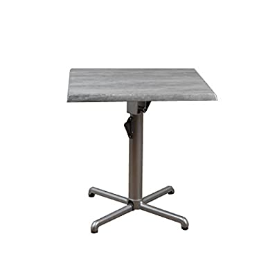 Atlantic Patio Atlantic Greece Isotop Folding Table - Table: 28L x 28W x 29H Includes a Folding Square Table. Aluminum color: Silver. Top color: two-tone Grey. Top is made of high quality Wax, resins, and wood pulp. Frames and legs are made of high quality non-corrosive aluminum. - patio-tables, patio-furniture, patio - 31cH2VXawwL. SS400  -