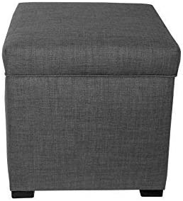 The Sole Secret Mini Shoe Storage Ottoman, 18.5 L x 19 H x 19 W, Dark Grey