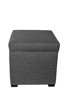The Sole Secret Mini Shoe Storage Ottoman, 18.5 L x 19 H x 19 W, Dark Grey