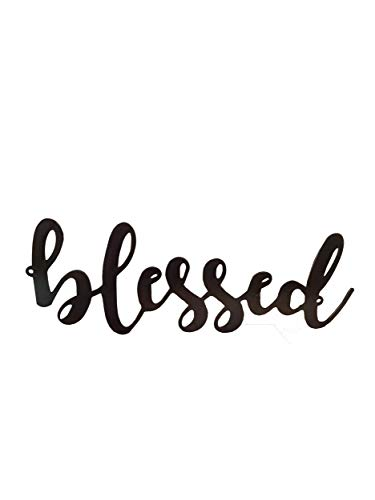 AT Industrial Metal Script Word Wall Sign Decor (Blessed) ()