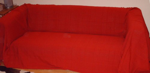 100% Cotton Red/Wine Extra Large 3 or 4 Seater Sofa Throw 230 x