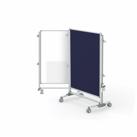 Ghent Manufacturing NEX223MFP-93 57.37 x 40.37 in. Nexus Jr. Partition Double-Sided Mobile Porcelain Magnetic Whiteboard & Fabric Bulletin Board44; Blue by Ghent