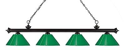 Z-Lite 200-4BRZ-PGR 4-Light Billiard Light, Green