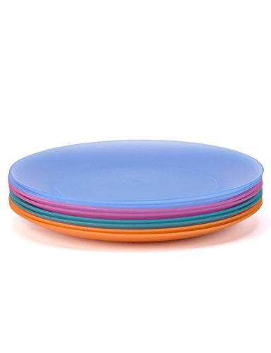 Plates Set of 8 in 4 Assorted Colors 10 Inch BPA Free For Wedding Party and Outdoor Dinnerware By AYT ()