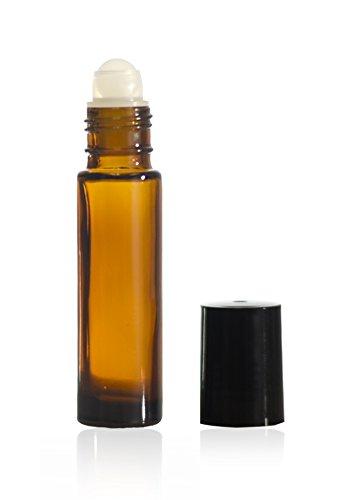 10 ml (1/3 oz) Amber Glass Roll on Bottle W/Ball & Caps (10 Original True Roller)