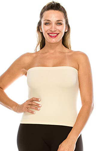 - Kurve Medium Length Bandeau Tube Bra Strapless Top - UV Protective Fabric UPF 50+ (Made with Love in The USA)