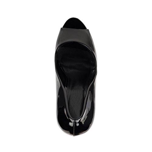 Bequeme Stilettos Elara Plateau Damen High Lack Schwarz Peeptoe Heels Pumps Chunkyrayan 4wBOYwq8