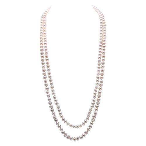 JYX Pearl Double Strand Necklace Classic 8-9mm White Freshwater Pearl Long Strand Necklace Opera Length 32