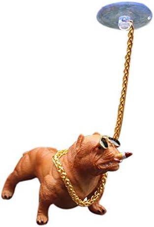 ACAMPTAR Decoraci/ón del Perro del Coche Personalidad Creativa Alto Grado Interior del Coche Adornos De Interior De Perro De Simulaci/ón De Moda Gris