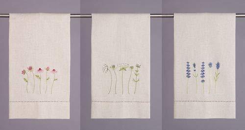 Peking Handicraft Wildflowered Embroidered Hand Towel Trio Set of 3