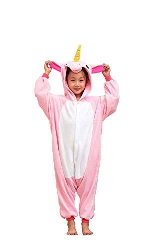 Flora Huxley Pink Unicorn Onesies Unisex Kid Cosplay Animal Costumes One Piece Halloween Pajamas for Girls 115