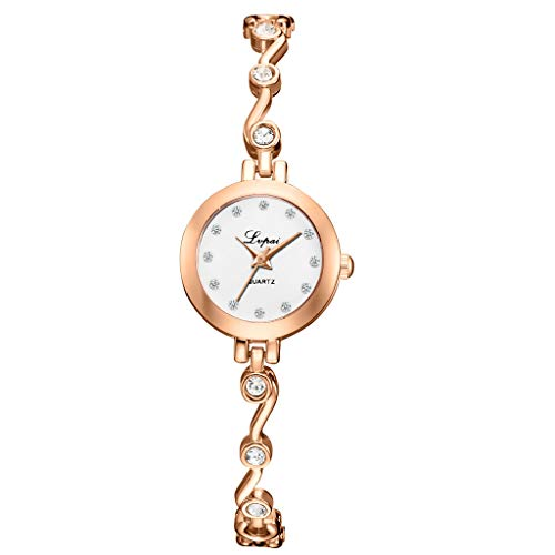 LUXISDE Women's Wrist Watches ABC Fashion Elegant Diamond Dial with Diamond Bracelet Belt Ladies Quartz Watch 19 B