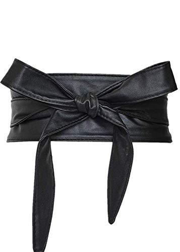 (Women's PU Leather Obi Belt Cityelf Wrap Around Cinch Boho Band Black)