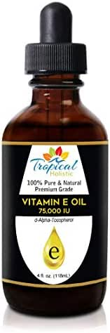 100% Pure Vitamin E Oil 4oz - Extra Strength 75,000 IU, Unrefined Natural Face Moisturizer for Skin, Scars, Nails, Hair Growth, Wrinkles, Dark Spots - Premium Grade Antioxidant by Tropical Holistic
