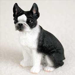 (Boston Terrier Miniature Dog Figurine)