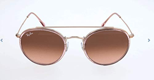 Ray-Ban RB3647N Round Double Bridge Sunglasses, Pink/Pink Gradient, 51 mm (Ray Ban Round Metal Sonnenbrille)