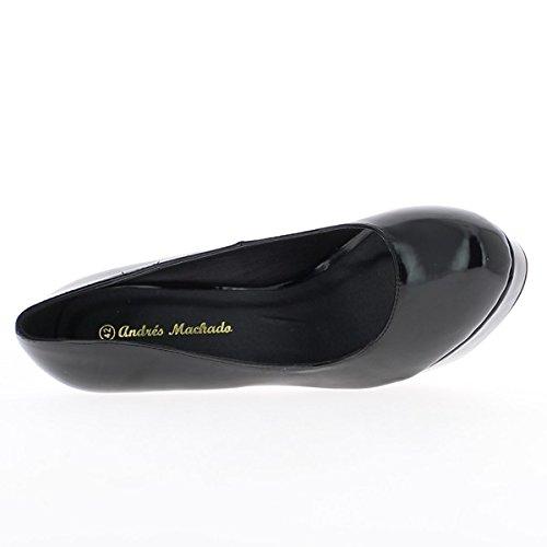 Taglia scarpe grandi donna nera chiodo piattaforma 4cm e tacco 14cm