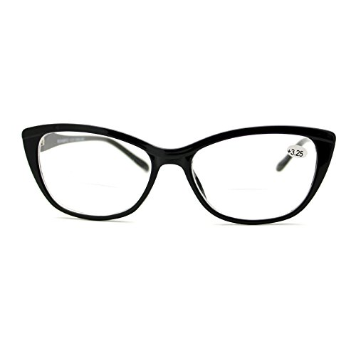 Clear Lens Glasses With Bifocal Reading Lens Womens Rectangular Cateye Black