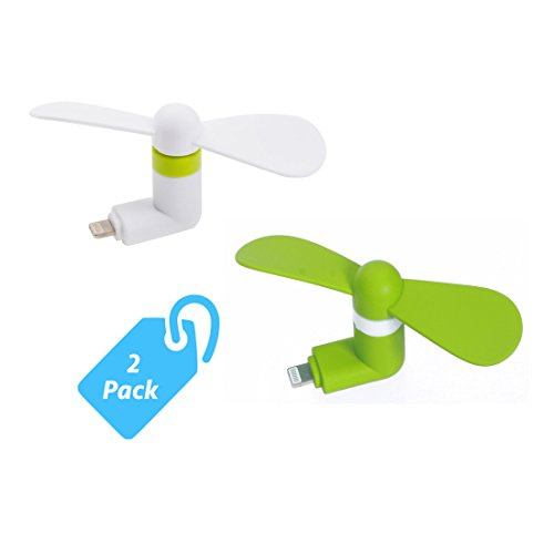 Add Ipod (StyleTech Inc. Portable Cool Mini Rotating Fan for Apple Lighting Port Compatible with iPhone/iPods/iPad (2.) White + Green))