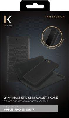 Étui et Coque slim magnétique 2-en-1 pour Apple iPhone 6/6s/7, Noir
