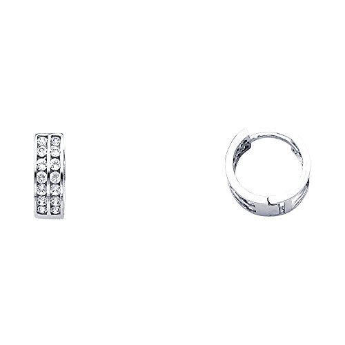 CZ Huggie Hoop Earrings Solid 14k White Gold Huggies Round CZ Two Row Pave Set Polished Small 11 mm ()