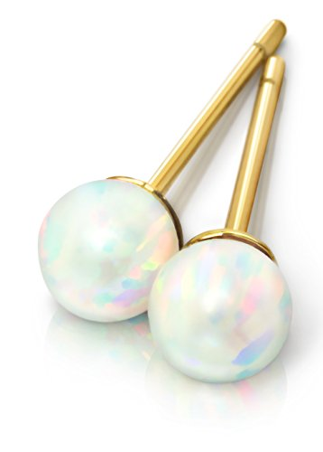 Opal Earrings - Celebrity Approved Opal Stud Earrings 4mm Gold Stud Earrings Gold Earrings Ball Studs Opal Studs Fiery White Opal Jewelry Studs Earrings Hypoallergenic Fire Birthstone