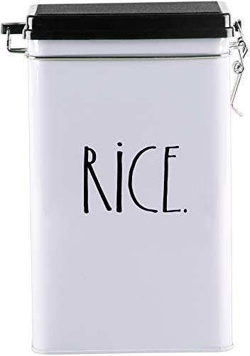 Rice Canister - Rae Dunn Tin Storage Box With Metal Clamp Locking Lid (Rice)