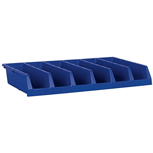 [Akro-Mils 30318 System Bin Six Compartment Single Piece Shelf Storage Bin Unit, Blue, Case of 5] (Single Wide 5 Shelf)