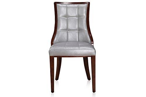 International Design USA Barrel Dining Chair, Silver Leather, Set of 2