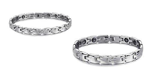 Son ou le Sien Correspondant de Couple Titane Magnétique Bracelet de Bracelet Anti-fatigue, Anti-rayonnement dans une Boîte-Cadeau (la Sienne)