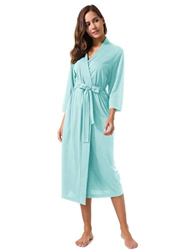 SIORO Women's Kimono Robes Cotton Lightweight Robe Long Knit Bathrobe Soft Nightgowns Sleepwear V-Neck Ladies Nightwear Mist ()