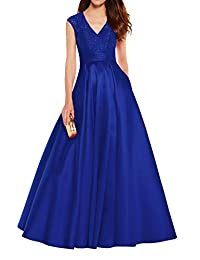 Mother of The Bride Prom Dresses Long V Neck Evening Ball Gown with Pockets