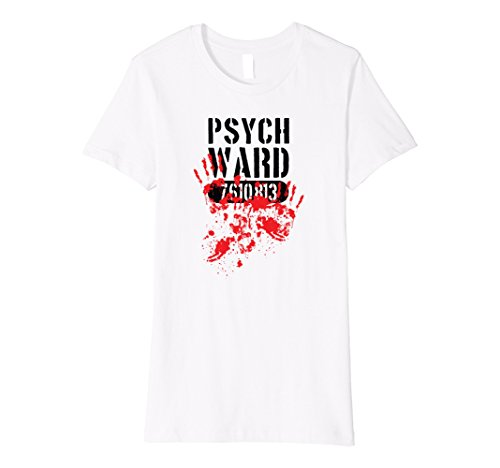 Ward Costume (Womens Psych Ward Halloween Costume Bloody Hand Prints Tee Small White)