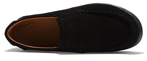Black Shoes Suede Platform On Women's Slip Cow Sneakers Leather Ezkrwxn Fashion Loafers PgqxptwExB